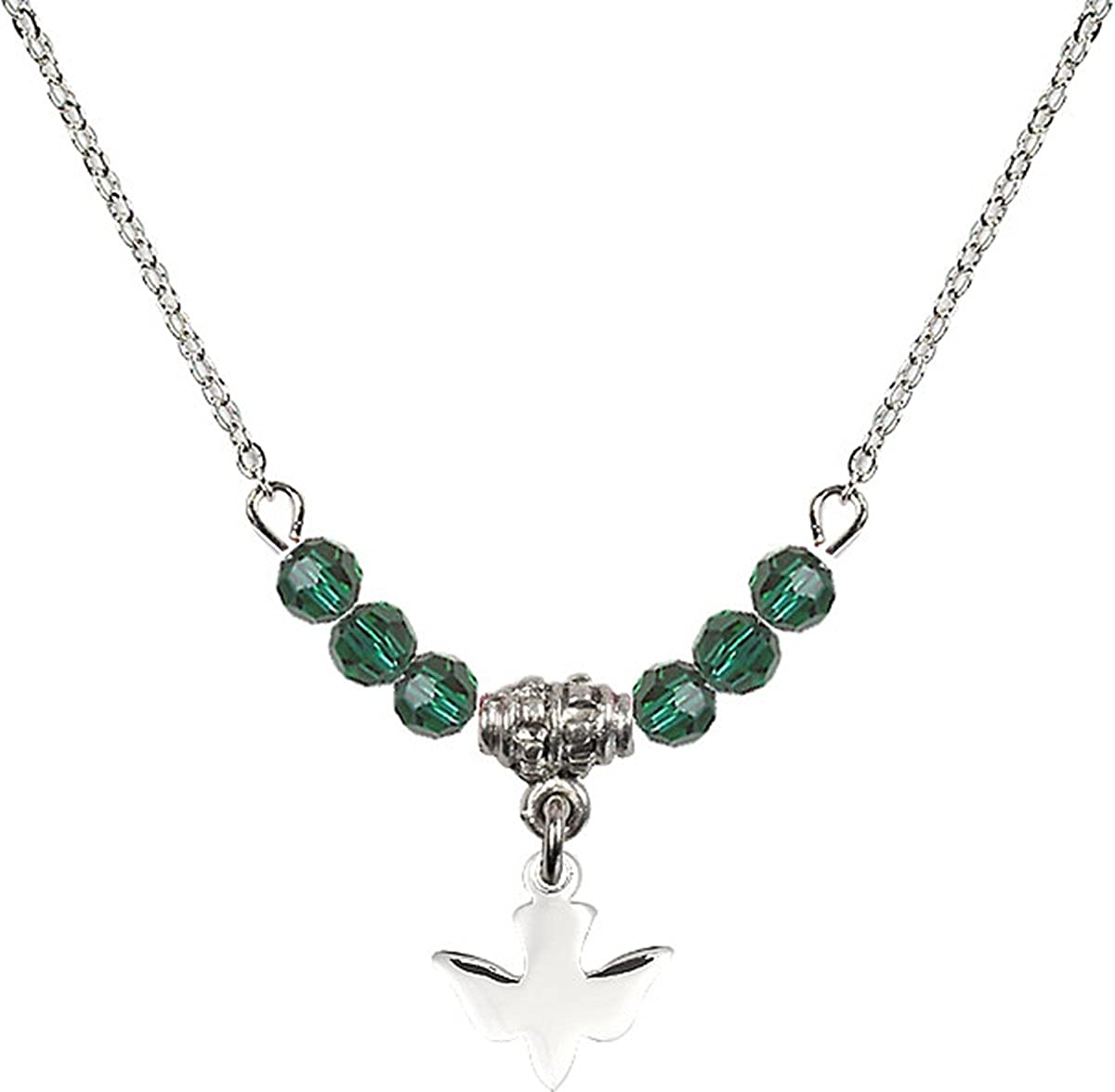 Birth Month Colored Bead Necklace with Holy Spirit Dove Charm 18 Inch