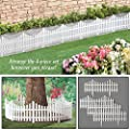 Collections Etc Flexible White Picket Fence Border for Garden, Landscape Edging, Pathways - 4 Piece Set, White