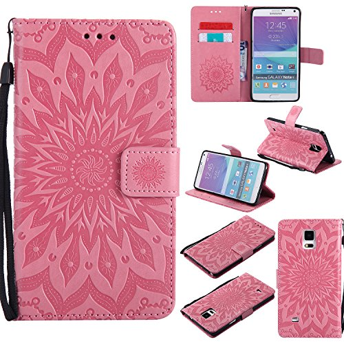 Wallet Case, (TM) Sun Pattern Embossed PU Leather Magnetic Flip Cover Card Holders & Hand Strap Wallet Purse Case for Samsung Galaxy Note 4 - Pink ()