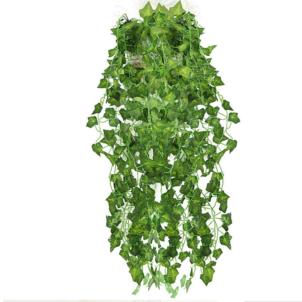 Spubote Ivy Plants 12 Strands 84 Ft Fake Vine Artificial Ivy Leaf for Wedding Party Garden Outdoor Office Wall Decoration.