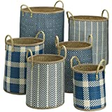Attractive Blue Patterns 6 Wicker Rattan Oval Woven Baskets