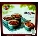 Nayasa Neon Dryfruit Set- 4 Serving Bowls With Lids & 1 Tray