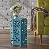 Girra Indoor 12 Inch Matte Blue Iron Floral Side Table