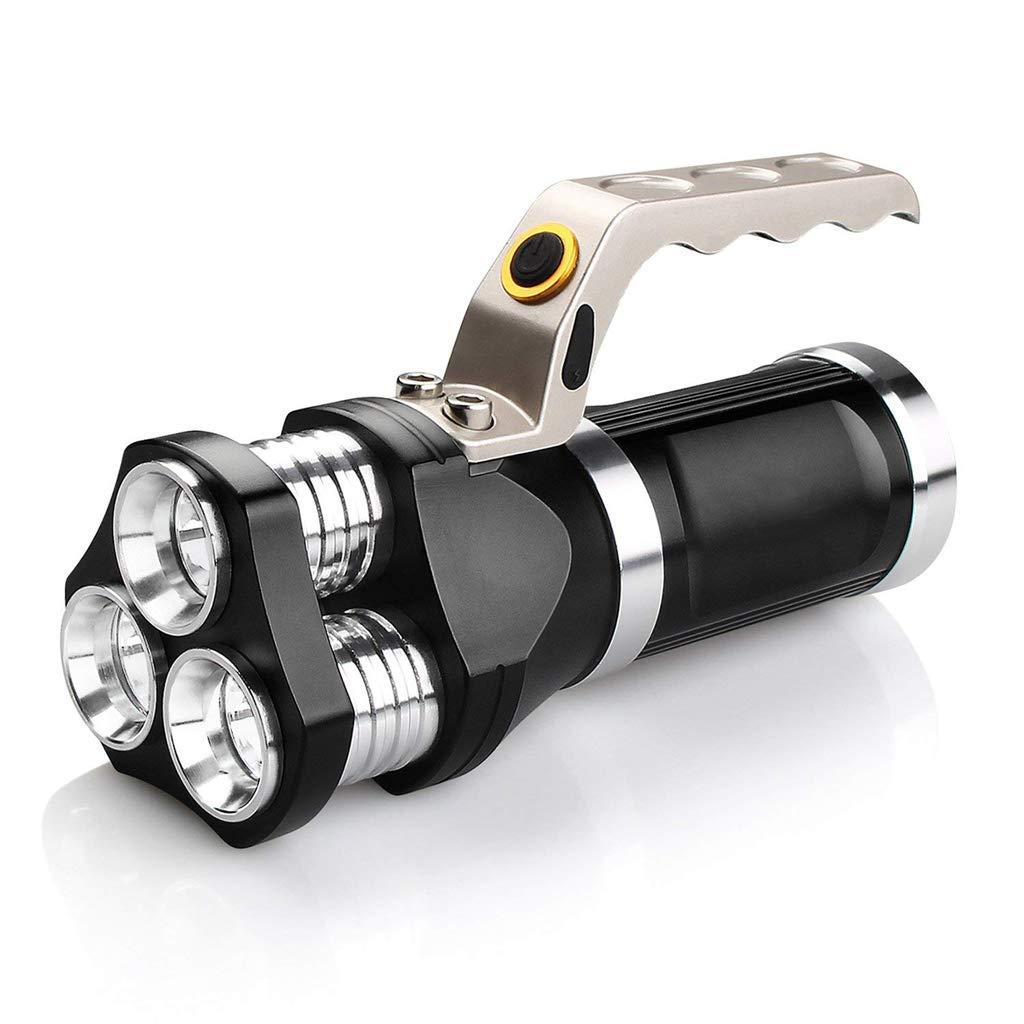 JU FU Starke helle Taschenlampe, LED-super helle Wieder Aufladbare Multifunktionspatrouille tragbarer Scheinwerfer im Freien für kampierendes wanderndes Radfahren und Notfallgebrauch  