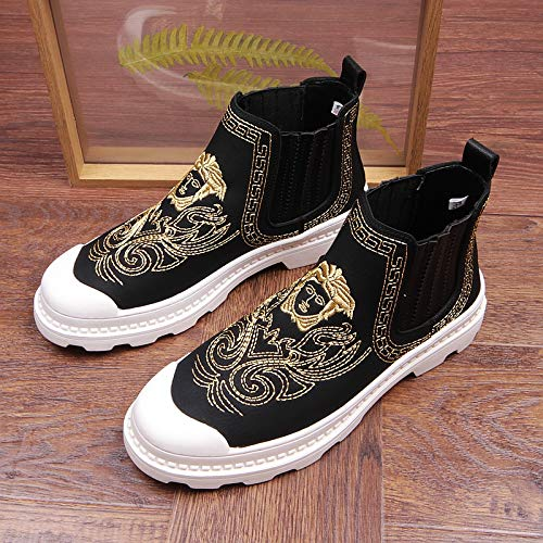 Shukun Herren Stiefel Chinese Style Retro High-Top Tooling schuhe Men's Embroiderot Martin Stiefel Thick Bottom Increased Men's Stiefel Personality