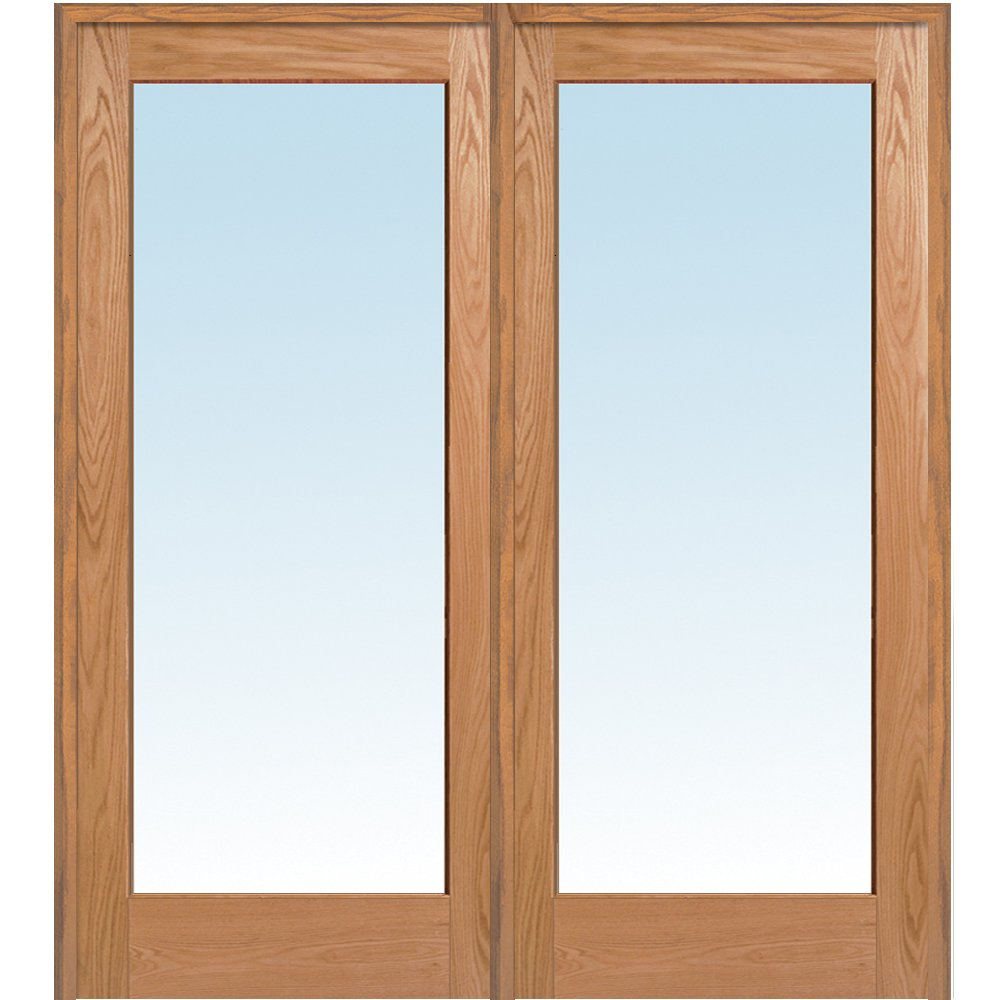 National Door Company Z019989R Unfinished Red Oak Wood 1 Lite Clear Glass, Right Hand Prehung Interior Double Door, 72'' x 80''