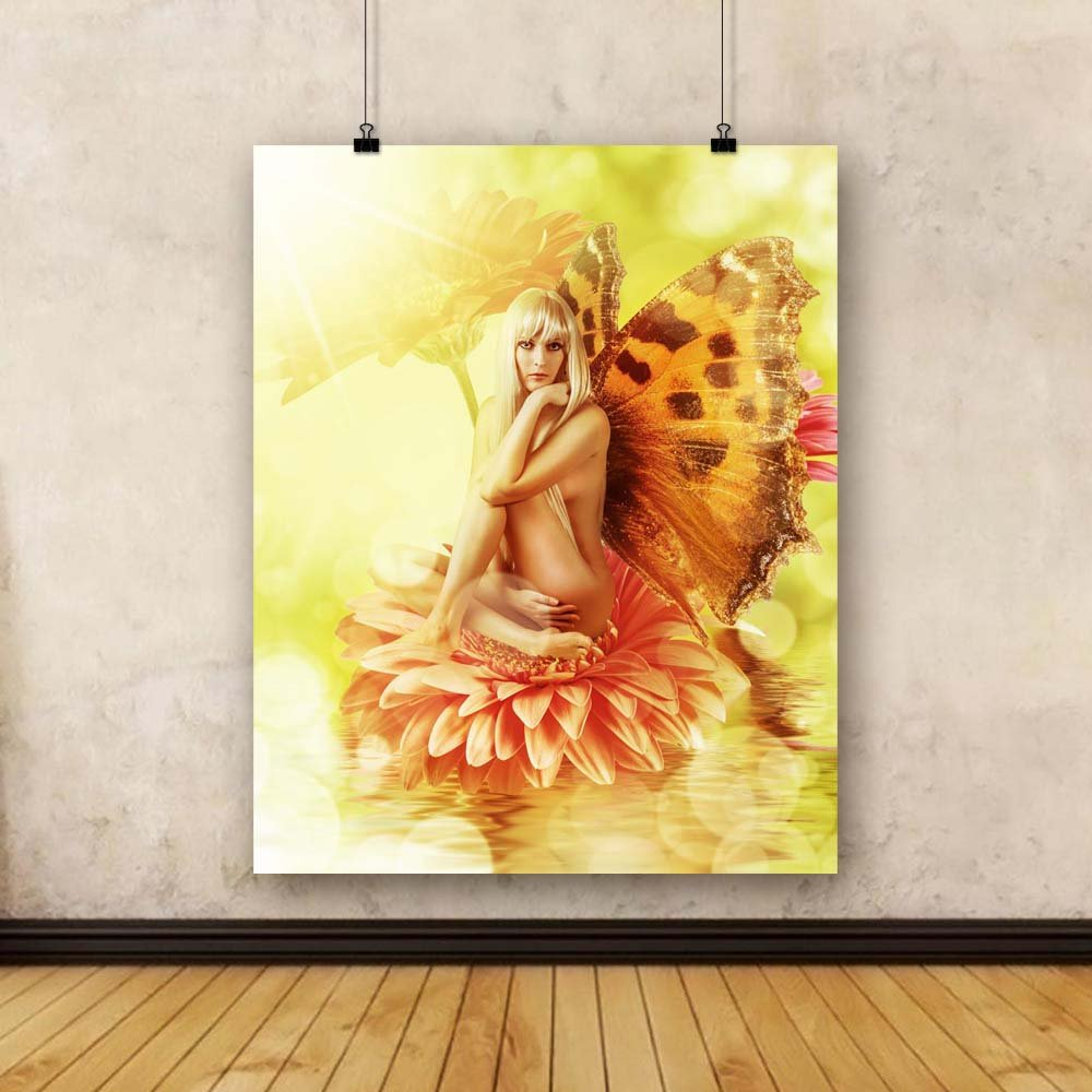 Pitaara Box Beautiful Fairy with Wings On A Flower Flower Flower In Water Unframed Canvas Painting 32 x 40inch 5b6aa0