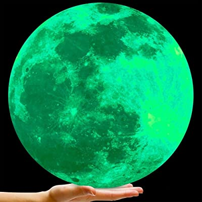Bollepo Glow in the Dark Moon Wall Art Stickers - Night Light Glowing Wall Decal with Removable Adhesive for Boy and Girl Bedroom, Party Decor, Child's Playroom, Baby Nursery or Classroom -11.8''/30cm: Baby