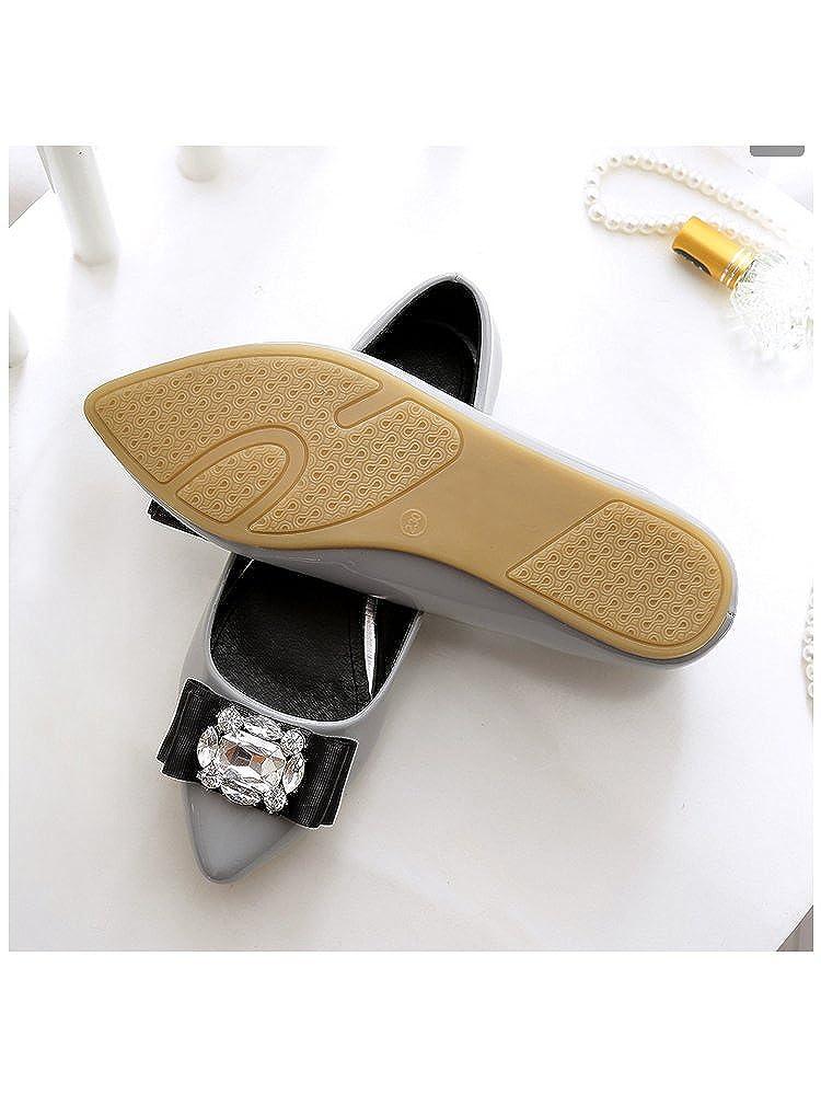 OCHENTA Femme Ballerines Plates en Cuir Verni Tete Pointue Mode Simple Poiture 34-45 Casual Chaussures