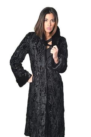 64bc3ac4f6c54 Persian Lamb Fur Coat Black Mink Fur Collar and Cuffs Swakara Women Knee  Length (small