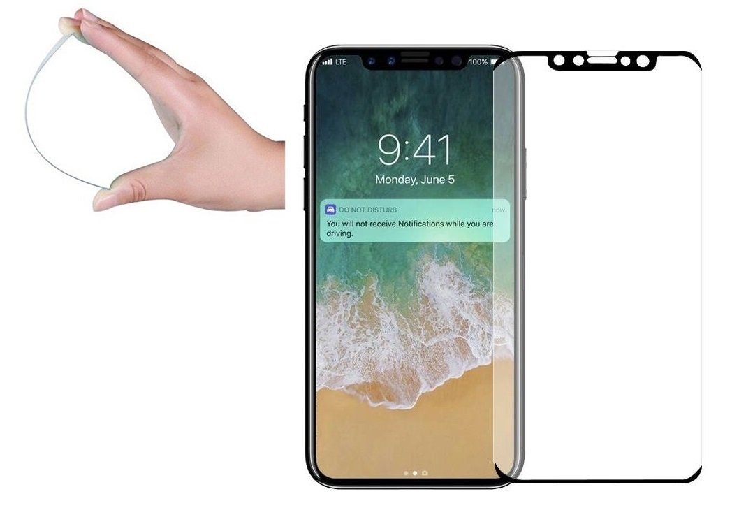 EiZiTEK EiZiLite Series Screen Protector for Apple iPhone Xs, X, Case Friendly, 0.33mm Thick, Extra Strong Bendable Tempered Glass, Black, 2 Pack