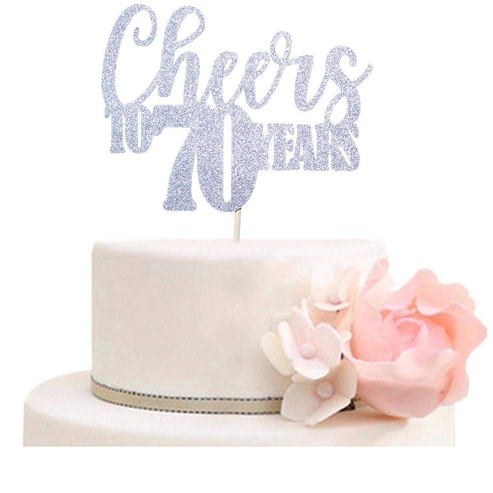 Cheers To 70 Years Cake Topper For 70th Birthday Wedding Anniversary Party Decorations Silver Glitter