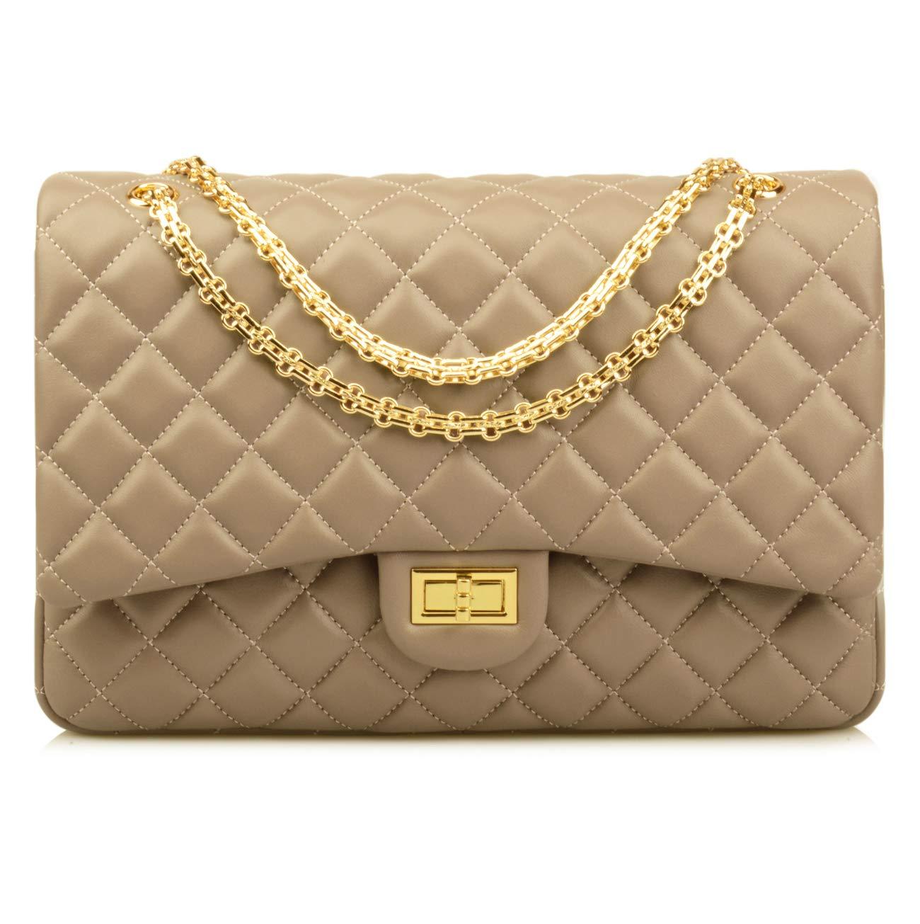 Ainifeel Women's Quilted Oversize Genuine Leather Shoulder Handbag Hobo Bag Purse (X-Large, Taupe (gold hardware))