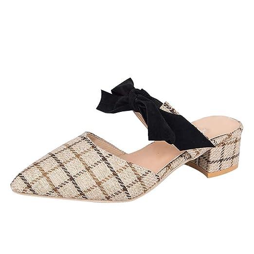 Zapatillas a Cuadros con Lazo de tacón Medio Medias Zapatillas Sandalias Zapatillas Mujer Damas Moda Punta Estrecha Tacones Cuadrados Zapatos Casuales ...