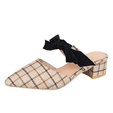 Zapatos de Sandalias de Mujer,❤ Absolute Moda para Mujer de señoras Punta Estrecha Mocasines de tacón Cuadrado Zapatos Ocasionales Sandalia de Zapatos: ...