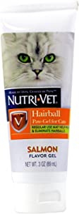 Nutri-Vet Cat Hairball Support Paw Gel | Hairball Remedy for Cats | Tasty Salmon Flavor | 3 Ounce Tube