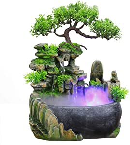 Kilinily Indoor Water Fountain Small Rockery Simulation Green Plant Tabletop Fountain Home Decoration Feng Shui Fountain Indoor and Outdoor,Withfog