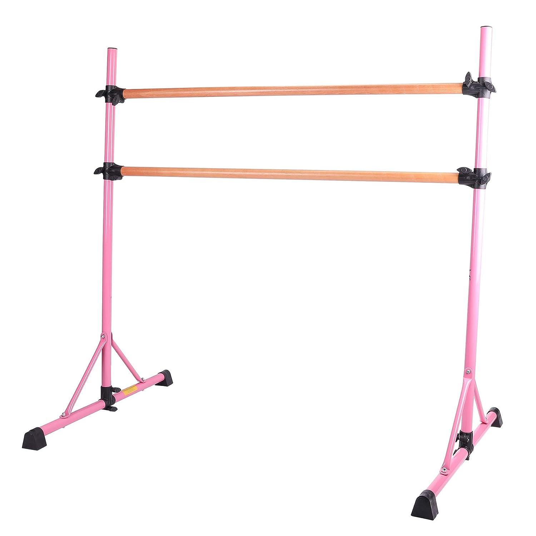 Sfeomi Barra Doble de Ballet 154cm Barra de Ballet Portatil Material Acero con Aspecto de Madera Ballet Barre Ajustable para Ballet Danza o Realizar Estiramientos