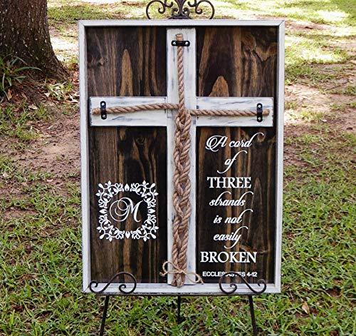 Cord of Three Strands, Wedding Braid Cross Board Sign, Unity Candle Alternative Custom 24x17 inches