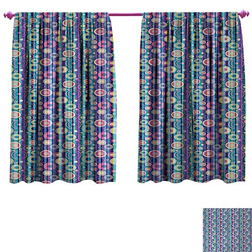 Anniutwo Abstract Decor Curtains by Vibrant Colored Composition with Vertical Stripes and Random Circles Party Fun Window Curtain Fabric W120 x L72 Multicolor