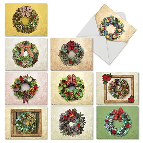 - 10 Assorted 'Succulent Wreaths' Merry Christmas Cards with Envelopes 4 x 5.12 inch, Boxed Greeting Cards with Festive Succulent Arrangements, Stationery for Holidays, Gifts, Postcards M2942XSB