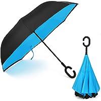 C Forma Manos libres Marcha Atrás Plegable Invertido Paraguas, Dentro Fuera A Prueba De Viento UV Doble Capas Soleado El Paraguas