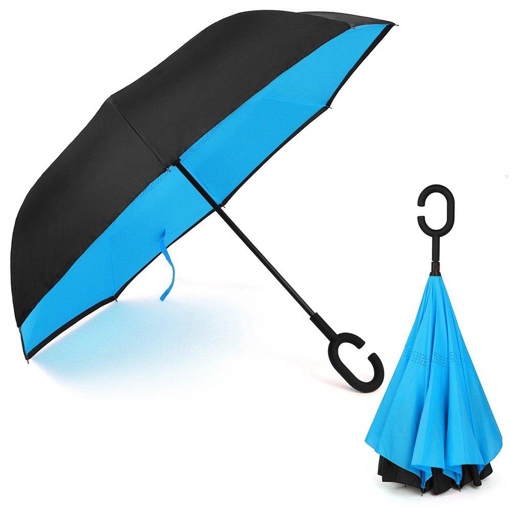Reversion Regenschirm Reverse-Double-Layer-Folding Inverted Regenschirm C- förmigen Hands Free Griff Best Compact Regenschirm Reise für Auto (Dunkelblau) OYSHOPP JY1403855007I