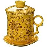 4 pieza DeHua taza de té cerámica con filtro, platillo y tapa amarilla y el patrón del crisantemo