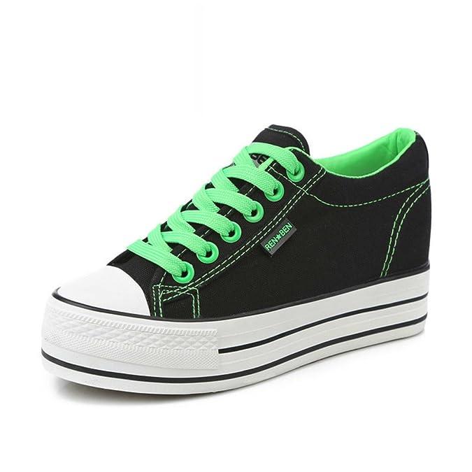 Primavera Aumentó En El Lienzo Color Caramelo,Mujer Sólida Suela Gruesa Plataforma Zapatos De Los Estudiantes,Mujer Cordones Zapatos-C Longitud del pie=24.3CM(9.6Inch)