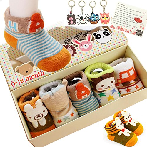 Fly-love® 5pairs Animal Non-Skid Slip Toddler Socks Cotton Unisex Baby Crew Sock 0-18 months With - Box Slip