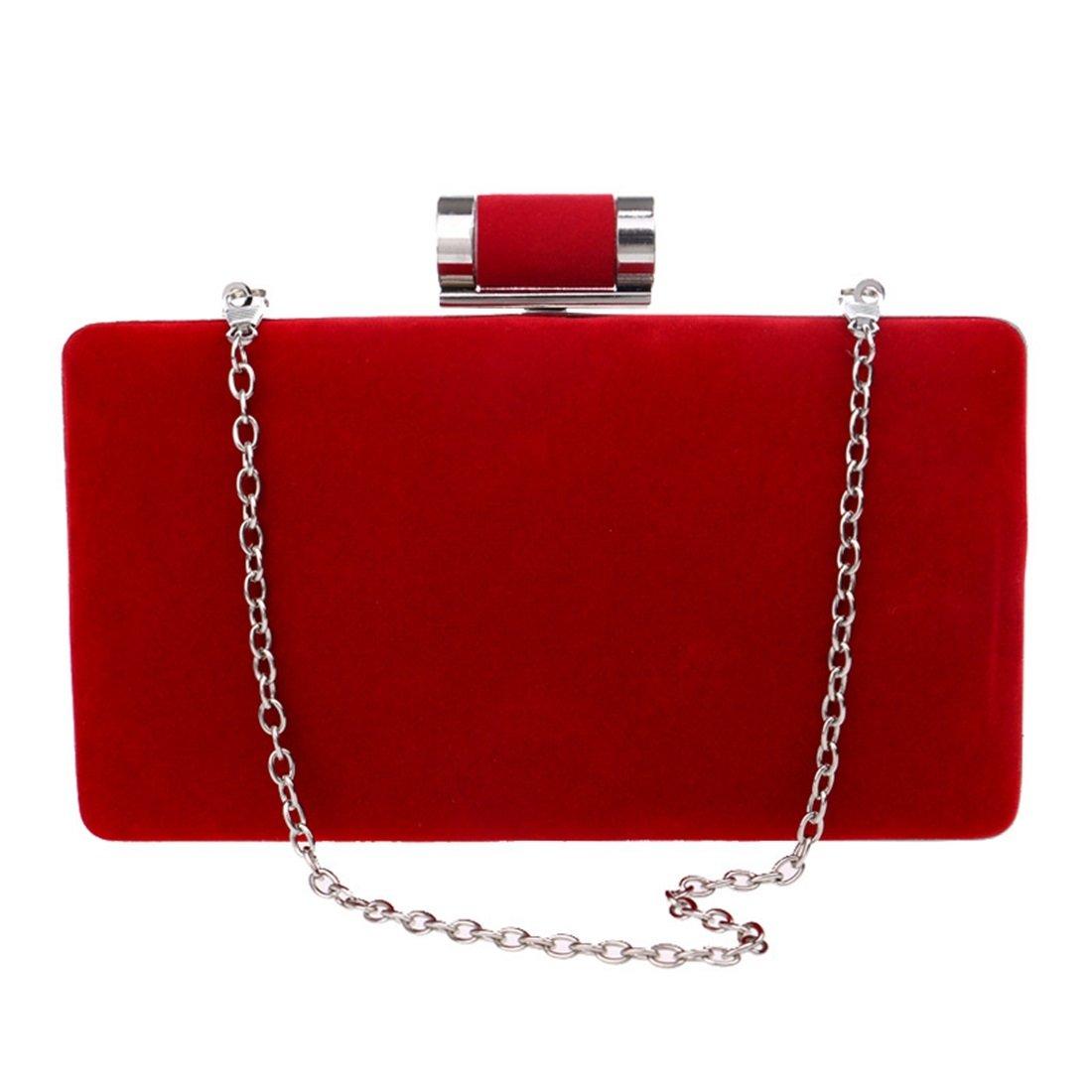 Jiuyizhe Damen Wildleder Clutch Handtasche Abendtasche Handtasche Crossbody Umhängetasche Umhängetasche Umhängetasche (Farbe   rot) B07K6T5C1P Clutches Großer Verkauf 0f7743