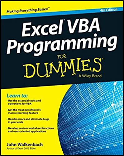 Excel VBA Programming For Dummies ISBN-13 9781119077398