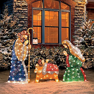 set of 3 lighted holy family shimmering nativity set fabric pvc metal frame stake mary joseph