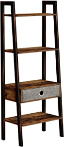 Rolanstar Ladder Shelf with Drawer, Retro Bookshelf, 4-Tier Ladder Bookcase, Utility Organizer Shelves, Stable Metal Frame, for Living Room, Office Room,LD001-A