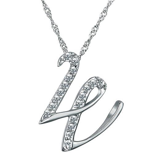 67a1634ce3cb gnzoe joyas mujer Collar de plata de ley 925 Letra W forma colgante mujer  cadena novia joyas cadena blanco tamaño 2.1 x 1.9 cm con circonitas   Amazon.es  ...