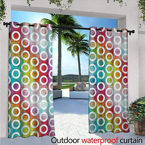 - BlountDecor Geometric Circle Balcony Curtains W84 x L84 Digital Oval Bands on Vibrant Background Bubble Forms on Fractal Image Outdoor Patio Curtains Waterproof with Grommets Multicolor