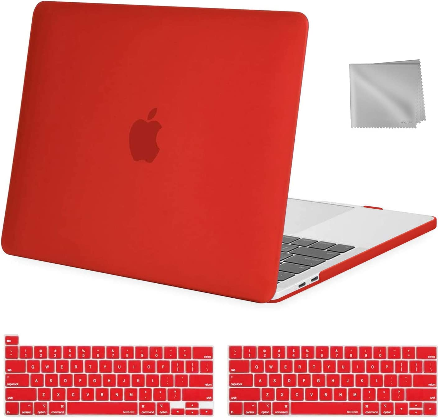 MOSISO MacBook Pro 13 inch Case 2020 2019 2018 2017 2016 Release A2289 A2251 A2159 A1989 A1706 A1708, Plastic Hard Shell&Keyboard Cover&Wipe Cloth Compatible with MacBook Pro 13 inch, Red