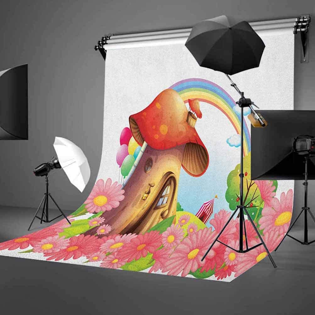 7x10 FT Mushroom Vinyl Photography Backdrop,Little Shroom House in Garden of Flowers Rainbow Fruit Trees Circus Tent Balloons Background for Party Home Decor Outdoorsy Theme Shoot Props