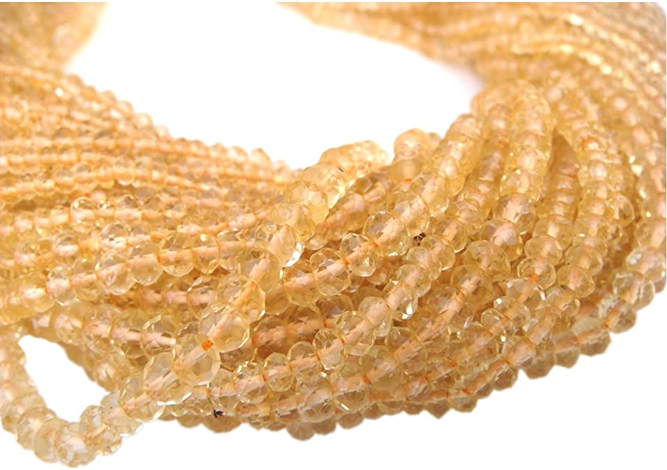 3-4mm Micro Faceted Gemstone Beads 13 Inches Long. BDS3-16 Carnelian Rondelle Beads