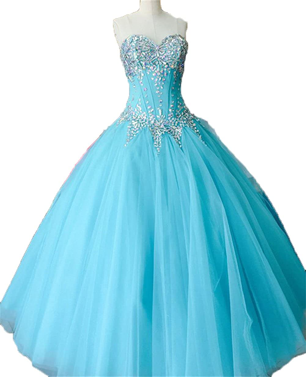 bluee Zhu Li Ya Women's Ball Gown Crystal Tulle Quinceanera Dresses Prom Gown
