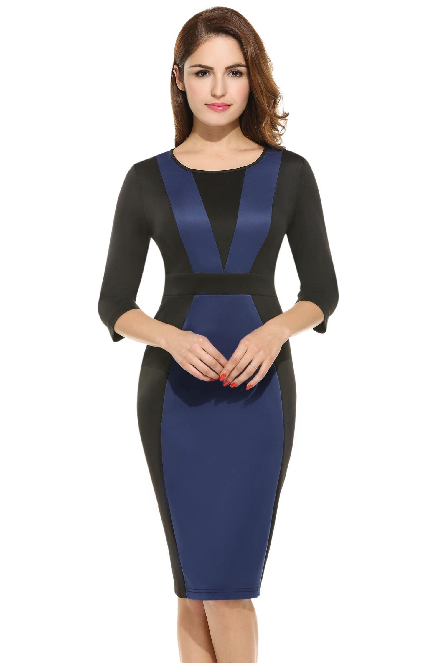 Hotouch Women's Retro Style Slim Business Pencil Dress (Navy Blue XL)