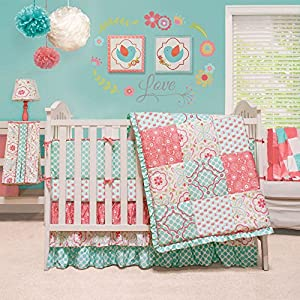 Floral Patchwork Teal and Coral Crib Bedding Set by Peanut Shell