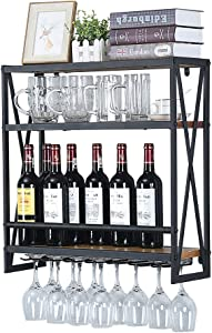 Industrial Wine Racks Wall Mounted with 6 Stem Glass Holder,23.6in Rustic Metal Hanging Wine Holder Wine Accessories,3-Tiers Wall Mount Bottle Holder Glass Rack,Wood Shelves Wall Shelf(Black)