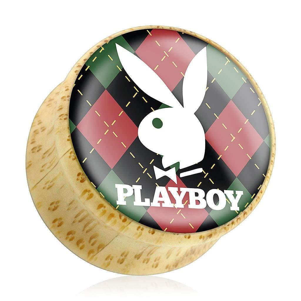 Inspiration Dezigns Pair Playboy Bunny Logo on Red//Green Argyle Print Wood Saddle Plug