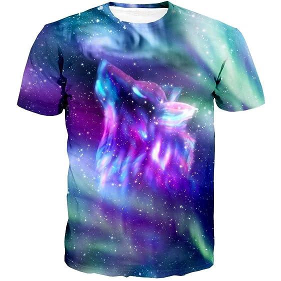 Apanqiqi Space Galaxy Wolf T Shirt Men New Brand Hip Hop Tops Tees Poleras Hombre Casual