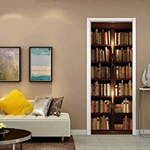 ColorSpring 3D Book Shelf Door Decal Door Stickers Decor Door Mural Removable Vinyl Door Wall Mural Door Wallpaper for Home Décor(MT-158)