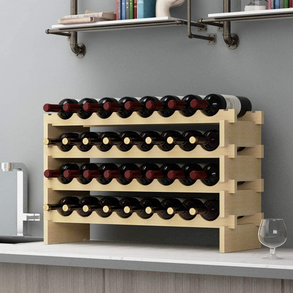 SogesHome 6-Tier 48 Bottle Stackable Modular Wine Rack Wood Wine Display Rack Free Standing and Countertop Wine Storage Shelf for Home Living Room Kitchen Bar,SH-BY-WS6848M