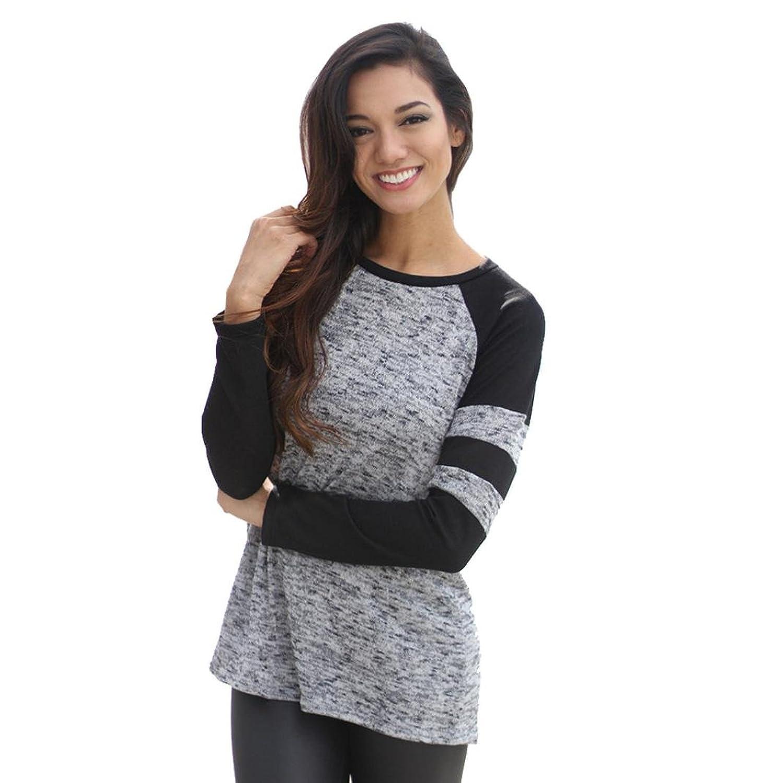 Mosunx(TM) Women Loose Long Sleeve Round Neck Splice Pullover Shirt Blouse Top Shirt