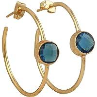 Beautiful Handmade Gold Plated Hydro London Blue Topaz Round Studs Earrings EJ-1051-2