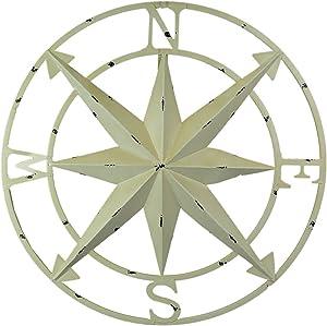 Zeckos Antiqued White Indoor Outdoor Metal Compass Rose Wall Sculpture 20.5 Inch Diameter